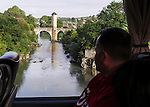 VMI Vincentian Heritage Tour: The 14th century bridge crossing the river Gave de Pau at Orthez, Sunday, June 26, 2016, as members of the Vincentian Mission Institute cohort toured southern France. (DePaul University/Jamie Moncrief)