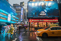 "Advertising in Times Square in New York for the summer blockbuster hit ""Jurassic World"", seen on Tuesday, June 2 2015. The film is the fourth in the series and opens 22 years after the original.  ""Jurassic World"" opens on June 12.  (© Richard B. Levine)"