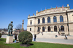 The Rudolfinum is a music auditorium in Prague, Czech Republic. It is designed in the neo-renaissance style and is situated on Jan Palach Square on the bank of the river Vltava; Statue of Antonín Dvořák on left.