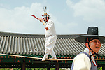 """Dano Festival, June 9, 2016 : Kim Dae-gyun (C), tightrope walking master and the Important Intangible Cultural Property No. 58 of South Korea, performs during """"Early Summer High Day, Dano Festival"""" at the Namsangol Hanok Village in Seoul, South Korea. (Photo by Lee Jae-Won/AFLO) (SOUTH KOREA)"""