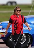 Apr 24, 2015; Baytown, TX, USA; NHRA pro mod crew member Shelly Anderson Payne during the Spring Nationals at Royal Purple Raceway. Mandatory Credit: Mark J. Rebilas-