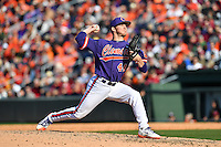 Pitcher Ryley Gilliam (44) of the Clemson Tigers delivers in the Reedy River Rivalry game against the South Carolina Gamecocks  on Saturday, March 4, 2017, at Fluor Field at the West End in Greenville, South Carolina. Clemson won, 8-7. (Tom Priddy/Four Seam Images)