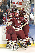 Stephen Gionta, Matt Green, Mike Brennan and Tim Filangieri mob Joe Rooney - The Boston College Eagles defeated the Boston University Terriers 5-0 on Saturday, March 25, 2006, in the Northeast Regional Final at the DCU Center in Worcester, MA.
