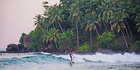 Mirissa Beach, panoramic photo of a surfer surfing in front of palm trees, South Coast of Sri Lanka, Asia. This is a panoramic photo of a surfer surfing in front of palm trees on Mirissa Beach, Sri Lanka, Asia. Mirissa Beach is a popular surfing spot on the South Coast of Sri Lanka.