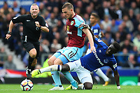 Idrissa Gueye of Everton tackles Chris Wood of Burnley during the Premier League match between Everton and Burnley at Goodison Park on October 1st 2017 in Liverpool, England. <br /> Calcio Everton - Burnley Premier League <br /> Foto Phcimages/Panoramic/insidefoto