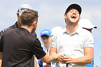 Jimmy Nesbitt (AM), Conor Moore (AM) and Niall Horan (AM) playing with Guido Migliozzi (ITA) on the 2nd tee during the Pro-Am of the Irish Open at LaHinch Golf Club, LaHinch, Co. Clare on Wednesday 3rd July 2019.<br /> Picture:  Thos Caffrey / Golffile<br /> <br /> All photos usage must carry mandatory copyright credit (© Golffile | Thos Caffrey)