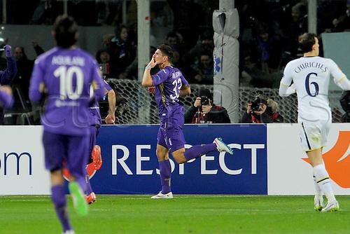 26.02.2015.  Florence, Italy. Europa League Football. Fiorentina versus Tottenham Hotspur. Fiorentina's Mario Gomez celebrates after he scored the goal for 1-0