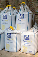 600kg bags of compound nitrogen and sulphur fertilser in a farm building - Lincolnshire, June