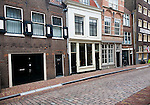 Historic Wijnstraat, Wine Street, houses once occupied by wine importers and traders, Dordrecht, Netherlands