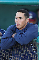 Carlos Correa #1 of the Lancaster JetHawks before a game against the Lake Elsinore Storm at The Hanger on April 4, 2014 in Lancaster, California. Lake Elsinore defeated Lancaster, 6-1. (Larry Goren/Four Seam Images)
