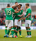 June 4th 2017, Aviva Stadium, Dublin, Ireland; International football friendly, Republic of Ireland versus Uruguay; Republic of Ireland players celebrate with goal scorer Cyrus Christie. The defender scored in the 51st minute to give Republic of Ireland a 2-1 lead
