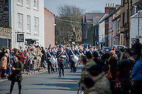 Wednesday 26 March 2014<br /> Pictured: 236 Signal Squadron make their way through the streets of St.Davids<br /> Re: 236 Signal Squadron ( part of 14 Signal regiment who are based at Cawdor Barracks in Brawdy Parade through the streets of  St.Davids Pembrokeshire led by Haverfordwest Air Training Corps Band and are then Presented with medals
