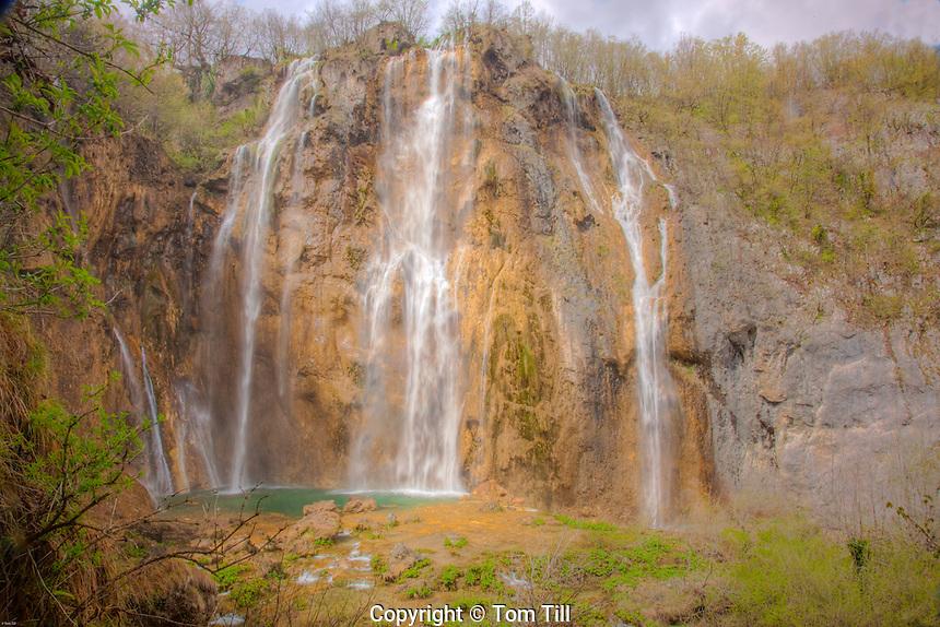 Big Falls, Plitvice Lakes National Park, Croatia, Rocks colored from limestone and travertine