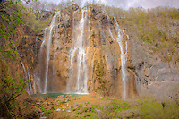 Big Falls, Plitvice Lakes National Park, Croatia, Rocks colored from limestone and travertine
