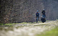 Sir Bradley Wiggins (GBR/Sky)  riding through the Bois de Wallers-Arenberg sector, followed by a media moto<br /> <br /> 2015 Paris-Roubaix recon with Team SKY