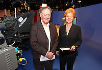 07/02/'11 TV3's Vincent Browne and Ursula Halligan pictured in the TV3 Studios this evening rehearsing for tomorrow night's party Taoiseach debate...Picture Colin Keegan, Collins.****NO REPRODUCTION FEE FOR PIC****