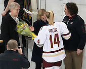 David Pfalzer, Jill Pfalzer, Emily Pfalzer (BC - 14), Courtney Kennedy (BC - Associate Head Coach) -  The Boston College Eagles defeated the visiting Boston University Terriers 5-0 on BC's senior night on Thursday, February 19, 2015, at Kelley Rink in Conte Forum in Chestnut Hill, Massachusetts.