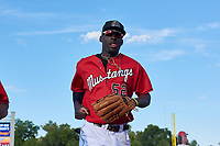 Billings Mustangs outfielder Edwin Yon (52) jogs toward the dugout before a Pioneer League game against the Grand Junction Rockies at Dehler Park on August 15, 2019 in Billings, Montana. Billings defeated Grand Junction 11-2. (Zachary Lucy/Four Seam Images)