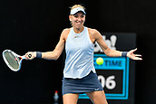 9th January 2018, Sydney Olympic Park Tennis Centre, Sydney, Australia; Sydney International Tennis, round 1; Elena Vesnina (RUS) hits a forehand in her match against Dominika Cibulkova (SVK)