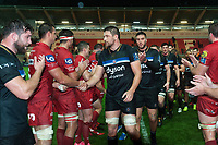 Charlie Ewels of Bath Rugby shakes hands with the opposition after the match. European Rugby Champions Cup match, between the Scarlets and Bath Rugby on October 20, 2017 at Parc y Scarlets in Llanelli, Wales. Photo by: Patrick Khachfe / Onside Images
