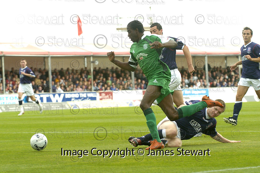 15/09/2007       Copyright Pic: James Stewart.File Name : sct_jspa16_falkirk_v_hibernian.DARREN BARR PULLS DOWN CLAYTON DONALDSON FOR HIBS PENALTY...James Stewart Photo Agency 19 Carronlea Drive, Falkirk. FK2 8DN      Vat Reg No. 607 6932 25.Office     : +44 (0)1324 570906     .Mobile   : +44 (0)7721 416997.Fax         : +44 (0)1324 570906.E-mail  :  jim@jspa.co.uk.If you require further information then contact Jim Stewart on any of the numbers above........
