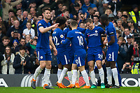 Chelsea's Cesar Azpilicueta (2nd right) celebrates scoring the opening goal with team mates <br /> <br /> Photographer Craig Mercer/CameraSport<br /> <br /> The Premier League - Chelsea v West Ham United - Sunday 8th April 2018 - Stamford Bridge - London<br /> <br /> World Copyright &copy; 2018 CameraSport. All rights reserved. 43 Linden Ave. Countesthorpe. Leicester. England. LE8 5PG - Tel: +44 (0) 116 277 4147 - admin@camerasport.com - www.camerasport.com