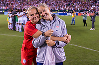 PHILADELPHIA, PA - AUGUST 29: Lindsey Horan #9 celebrates with Dawn Scott of the United States during a game between Portugal and the USWNT at Lincoln Financial Field on August 29, 2019 in Philadelphia, PA.