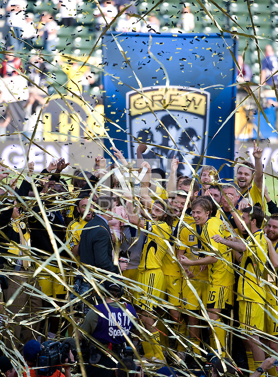 Columbus Crew team celebrates with MLS Cup trophy during MLS Cup 2008. Columbus Crew defeated the New York Red Bulls, 3-1, Sunday, November 23, 2008. Photo by John Todd/isiphotos.com