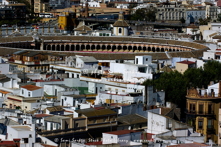 View of Maestranza Arena from the Giralda Tower, Seville, Andalusia, Spain.