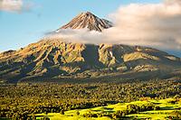 Farming under Taranaki volcano, Egmont National Park, North Island, New Zealand, NZ
