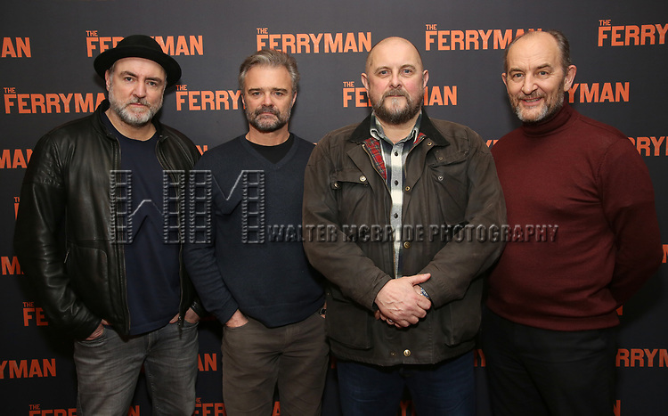 """Glenn Spears, Graham Winton, Charles Dale and Ralph Brown attends the """"The Ferryman"""" cast change photo call on January 17, 2019 at the Sardi's in New York City."""