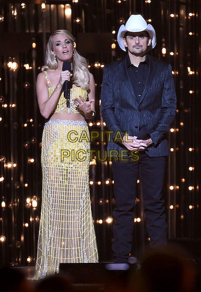 4 November 2015 - Nashville, Tennessee - Carrie Underwood, Brad Paisley. 49th CMA Awards, Country Music's Biggest Night, held at Bridgestone Arena. <br /> CAP/ADM/LF<br /> &copy;LF/ADM/Capital Pictures