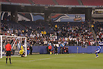 20 March 2008: A Honduras penalty kick flies over the bar during the penalty kick shootout. The Honduras U-23 Men's National Team defeated the Guatemala U-23 Men's National Team 6-5 on penalty kicks after a 0-0 overtime tie at LP Field in Nashville,TN in a semifinal game during the 2008 CONCACAF Men's Olympic Qualifying Tournament. With the penalty kick victory, Honduras qualifies for the 2008 Beijing Olympics.