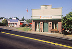 Post office and historic antique store façades along Highway 49 in Drytown, Amador County, Calif.