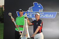 Alvaro Quiros (ESP) winner of the Dubai World Championship and Luke Donald (ENG) winner of the Race to Dubai on the final day of the DUBAI WORLD CHAMPIONSHIP presented by DP World, Jumeirah Golf Estates, Dubai, United Arab Emirates.Picture Denise Cleary www.golffile.ie