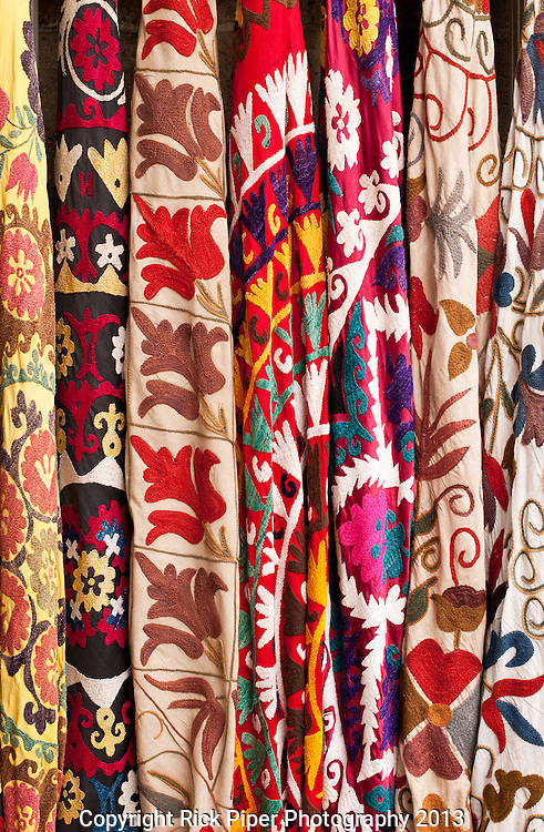 Turkish Textiles 02 - Turkish embroidered fabrics at Arasta Bazaar, Sultanahmet, Istanbul, Turkey
