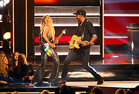 NASHVILLE, TN - NOVEMBER 14:  Lindsay Ell and Luke Bryan appear on the 52nd Annual CMA Awards at the Bridgestone Arena on November 14, 2018 in Nashville, Tennessee. (Photo by Frederick Breedon/PictureGroup)