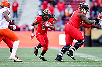 College Park, MD - OCT 27, 2018: Maryland Terrapins running back Anthony McFarland (5) breaks free for a big gain during game between Maryland and Illinois at Capital One Field at Maryland Stadium in College Park, MD. The Terrapins defeated Illinois to move to 5-3 on the season. (Photo by Phil Peters/Media Images International)