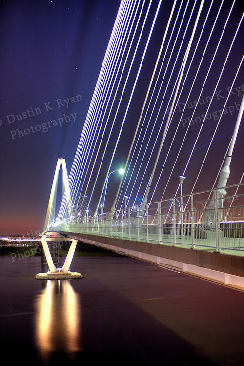 Arthur Ravenel Jr Bridge over the Cooper River in Charleston South Carolina at night High, Dynamic, Range, HDR