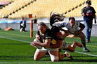 Rosie Stirling of Wellington scores a try during the Farah Palmer Cup - Wellington Pride v Waikato at Westpac Stadium, Wellington, New Zealand on Saturday 28 September 2019. <br /> Photo by Masanori Udagawa. <br /> www.photowellington.photoshelter.com