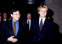 FILE PHOTO - Federal Justice minister  Martin Cauchon (L) and Gilbert Rozon (R) in 1996.<br /> <br /> Photo : Pierre Roussel - Agence Quebec Presse
