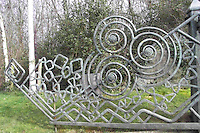 The entrance gate at the Bru na Boinne Center is reminiscent of the carvings on the stones surrounding the Newgrange mound.
