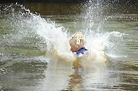 FIERLJEPPEN: GRIJPSKERK: Fierljepaccomodatie 'De Enk', 16-08-2014, ROC Friese Poort competitie 2014, Mare Dijkstra, ©foto Martin de Jong