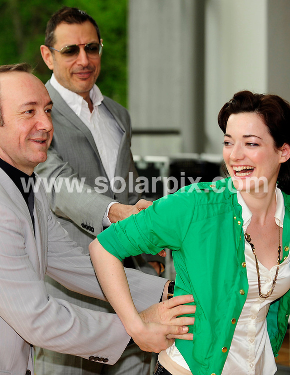 **ALL ROUND PICTURES FROM SOLARPIX.COM**.**SYNDICATION RIGHTS FOR UK AND SPAIN ONLY**.Actors Jeff Goldblum  and Kevin Spacey together with the British actress Laura Michelle Kelly during a press conference for the play Speed Plow at the Ruhr festival (Ruhrfestspiele) in the Ruhrfestspielhaus in Recklinghausen Nordrhein in Westfalen, Germany. .This pic:kevin Spacey,Laura Michelle Kelly,Jeff Goldblum.JOB REF:6307-CPR/Clemens Bilan    DATE:02_05_08.**MUST CREDIT SOLARPIX.COM OR DOUBLE FEE WILL BE CHARGED* *UNDER NO CIRCUMSTANCES IS THIS IMAGE TO BE REPRODUCED FOR ANY ONLINE EDITION WITHOUT PRIOR PERMISSION*
