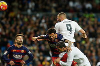 Real Madrid´s Karim Benzema and Cristiano Ronaldo and Barcelona´s Pique and Sergio Busquets during 2015-16 La Liga match between Real Madrid and Barcelona at Santiago Bernabeu stadium in Madrid, Spain. November 21, 2015. (ALTERPHOTOS/Victor Blanco) /NortePhoto
