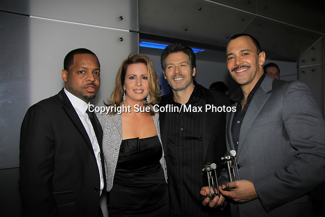 """WINNER - """"Hustling"""" -  Days of Our Lives Kevin Spirtas """"Craig Wesley"""", One Life To Live """"Jonas Chamberlain"""" and Young and Restless """"Les"""" and Sebastian LaCause is in Hustling is a presenter and poses with Anocostia's Martha Byrne and Anthony Anderson (L) at We Love Soaps and The Indie Series Network present the 4th Annual Indie Soap Awards - ISAs on February 19, 2013 from New World Stages, New York City, New York. (Photo by Sue Coflin/Max Photos)"""