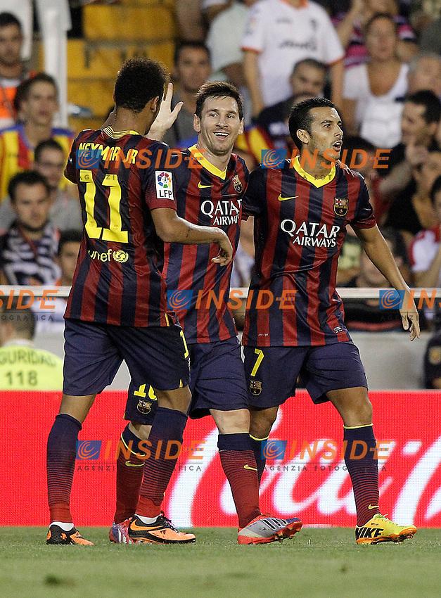 FC Barcelona's Neymar Santos Jr, Leo Messi and Pedro Rodriguez celebrate goal during La Liga match.September 1,2013. (ALTERPHOTOS/Acero) <br /> Football Calcio 2013/2014<br /> La Liga Spagna<br /> Foto Alterphotos / Insidefoto <br /> ITALY ONLY