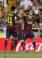 FC Barcelona's Neymar Santos Jr, Leo Messi and Pedro Rodriguez celebrate goal during La Liga match.September 1,2013. (ALTERPHOTOS/Acero) <br /> Football Calcio 2013/2014<br /> La Liga Spagna<br /> Foto Alterphotos / Insidefoto <br /> ITALY ONLY