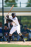 GCL Pirates center fielder Yondry Contreras (41) at bat during a game against the GCL Braves on August 10, 2016 at Pirate City in Bradenton, Florida.  GCL Braves defeated the GCL Pirates 5-1.  (Mike Janes/Four Seam Images)