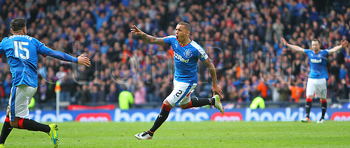 10.04.2016. Hampden Park, Glasgow, Scotland. Petrofac Training Cup Final. Rangers versus Peterhead. James Tavernier gets animated after his goal for 2-0